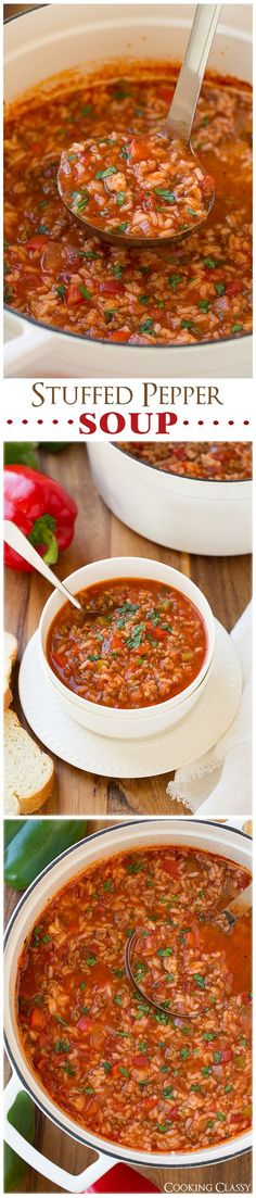 Stuffed Pepper Soup - just like the traditional stuffed peppers with rice, beef, tomatoes and herbs, but in soup form!