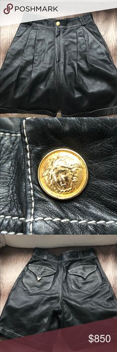 Black leather Gianni Versace vintage bondageshorts Excellent condition.  High waisted vintage shorts with beautiful gold Medusa button Versace Shorts