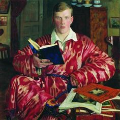 "Russian artist - Boris Kustodiev.  Self-portrait 1922. Uzbek silk ikat robe. via ""Uzbek Suzani"""