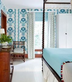 Quadrille wallpaper bedroom