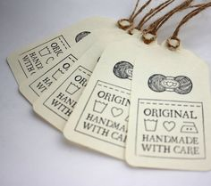 yarn ball gift tags | Gift Tags, Original Handmade with Care, Set of 5, for Knit, Crochet ...