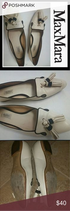 MAXMARA IVORY AND BLACK TASSLE LOAFER FLATS Maxmara ivory and black tassel loafer style flats MaxMara Shoes Flats & Loafers