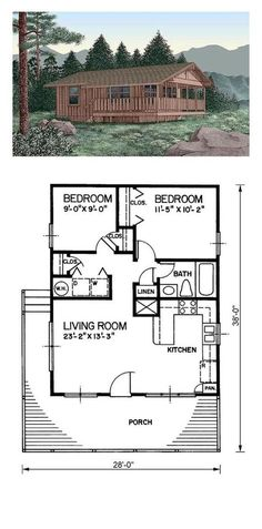 Tiny House Plan 45394 | Total Living Area: 720 sq. ft., 2 bedrooms and 1 bathroom. #tinyhome #houseplan by Marie_Levampyre