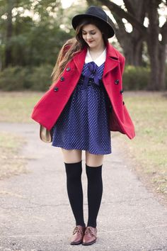 this is so cute! :) knee-high socks red jacket blue dress