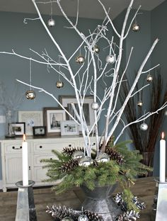 17 Best Christmas Table Decorations - Easy Holiday Home Crafts Natural Christmas, Noel Christmas, Rustic Christmas, All Things Christmas, Winter Christmas, Christmas Crafts, White Twig Christmas Tree, Christmas Tree Branches, Classy Christmas