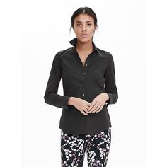 Banana Republic Womens Riley Fit Tailored Poplin Shirt ($48) ❤ liked on Polyvore featuring tops, black, embroidered top, tailored shirts, poplin shirt, tailored fit shirts and poplin top