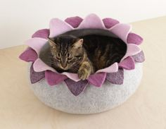 Cat bed/cat house/cat cave/purple lotus felted cat bed by elevele