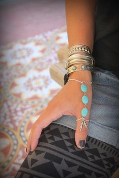 Gorgeous silver chain and Howlite Turquoise Index/Thumb finger slave bracelet Adjustable Hand piece Native style Silver Feather Bohemian by handmadebyinali on Etsy https://www.etsy.com/listing/152410830/gorgeous-silver-chain-and-howlite
