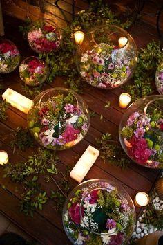 Idée de composition florale pour un centre de table pour un #Mariage champêtre ou rustique en extérieur à #Chambiers pourquoi pas?