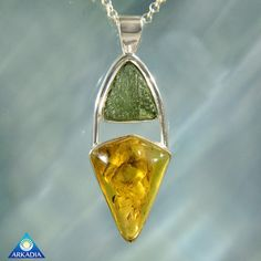 Genuine Moldavite & Baltic Amber Silver by ArkadianCollection
