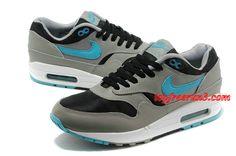 wholesale dealer 04b56 bae64 For Wholesale Mens Nike Air Max 1 Black Sport Turquoise Stadium Grey Cool  Grey Shoes Grey