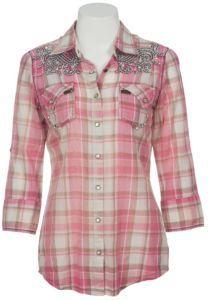Roar® Ladies Saxon Rose Embroidered Pink & Brown Plaid 3/4 Sleeve Western Shirt