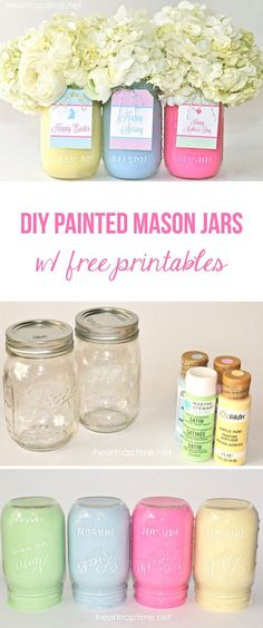 DIY Spring Mason Jar Vases: DIY painted mason jars with free tags. Make a cute and inexpensive gift for Easter or Mother's Day! Mason Jar Projects, Mason Jar Crafts, Mason Jar Diy, Diy Projects, Mason Jar Vases, Uses For Mason Jars, Backyard Projects, Craft Gifts, Diy Gifts