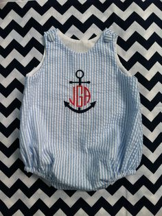 Blue and White Seersucker Monogrammed Baby Boys Bubble, Anchor Design, Sizes 3 months to 3T via Etsy