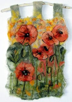 Poppies, felted tapestry