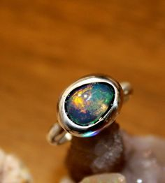 Sterling Silver Opal Ring, Silver Ring, Opal Stone, Rough Opal, Birthstone, Gem Stone, Raw Opal by SagesLeaf on Etsy https://www.etsy.com/ca/listing/492205879/sterling-silver-opal-ring-silver-ring
