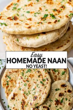 Easy homemade naan recipe without yeast. The perfect addition to your favorite Indian recipes! Warm, fluffy, and so simple to whip together. Add garlic butter or enjoy it on its own! #wellplated Homemade Naan Bread, Recipes With Naan Bread, Garlic Naan Recipe Without Yeast, Naan Bread Recipe Easy, Healthy Cooking, Cooking Recipes, Vegan Naan, Easy Indian Recipes, Clean Eating Recipes For Dinner