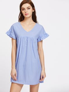 Cuff(Cm): XS:34cm, S:35cm, M:36cm, L:37cm Fabric: Fabric has no stretch Season: Summer Pattern Type: Striped Sleeve Length: Short Sleeve Color: Blue Dresses Length: Short Style: Casual, Cute Material: 100% Cotton Neckline: V Neck Silhouette: A Line Decoration: Ruffle Shoulder(Cm): XS:59.5cm, S:60.5cm, M:61.5cm, L:62.5cm Bust(Cm): XS:84cm, S:88cm, M:92cm, L:96cm Waist Size(Cm): XS:116cm, S:120cm, M:124cm, L:128cm Length(Cm): XS:83cm, S:84cm, M:85cm, L:86cm Size Available: XS,S,M,L