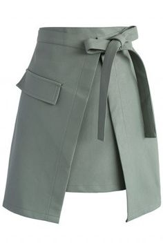 Self-tie Asymmetric Flap Faux Leather Skirt in Olive - Skirt - Bottoms - Retro, Indie and Unique Fashion