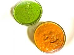 roasted red pepper & tomato harissa AND herbed chimichurri. Clean sauces to dress up any dish.