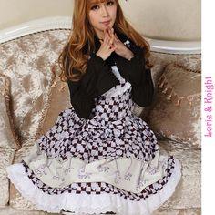 Sweet Princess Girl Purple Merry-go-round & Checks Printing JSK Lolita Dress Tea Party Dress