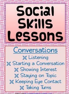 These Social Skills Lessons are 33 pages, with 12 social skill lessons. Teaching social skills is extremely important for all children to be successful in and out of school. These lessons are also particularly helpful for students with autism and other disabilities.