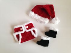Handmade Newborn Baby Crochet Santa Claus Photo Prop Costume