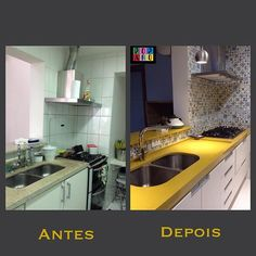 Cozinha repaginada e melhor planejada! A cuba foi deslocada para ampliar a área de trabalho, reformulamos a distribuição do armário, os pontos de iluminação, além dos acabamentos. Quem aí está precisando de uma cozinha nova?  bom final de semana para vocês!  #cozinha #kitchen #kitchendesign #cozinhaamericana #cozinhaplanejada #cozinhaamarela #yellow #amarelo #azulejo #azulejoportugues #armariosplanejados @silestonebycosentino @silestonebycosentinobrazil