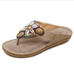 33904e564278f2 Summer Flat Sandals Ladies Bohemia Beach Flip Flops Flip Flop Shoes