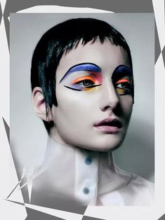 Amazing makeup by Dorita Nissen photographed by Markus Lambert!  Bold bright colors outlined in black graphic lines!