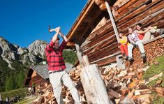 Stock Photo - Austria, Salzburg County, Friends looking at man chopping wood near alpine hut Body Reference, Royalty Free Images, Austria, Fair Grounds, Stock Photos, Friends, Illustration, Travel, Bergen