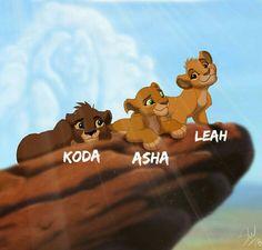 """Kiara and Kovu's cubs """"Young"""" - Koda (son), Asha (daughter) and Leah (daughter)"""