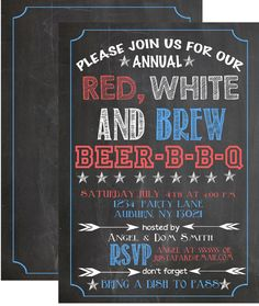 BBQ Barbecue invitation party chalkboard by CustomPrintablesNY, $12.00