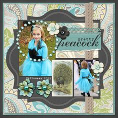 Pretty Peacock digital scrapbook layout page by Chanell Rigterink