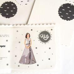 Invitaciones con papeles bonitos, Ilustracion impresa en papel de arroz transparente y cerrado con troqueles de papel moustaches