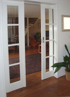 Schuifdeur weggewerkt in de spouw.  Mooie deuren