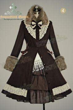 Classical Elegant Lolita Revers Embroidery Antique Embrodiery Yoke Warm Wool Coat Fur