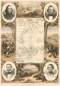 Karte von Afrika, die Fortschritte der Expedition vin Richardson, Barth Overweg & Vogel in den Jahren 1850-1853 zeigend