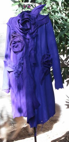 showdiva designs Dramatic Asymmetrical Leather Coat with Hand Sculpted Garden Flowers and Vines by showdiva on Etsy