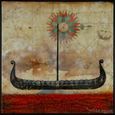 Jeff League photo transfer with encaustic.  Viking ship with old map.