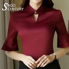 de91fb7623c4bb 2017 Design Fashion Slim Women Work Sheer Shirt Middle Pagoda Flare Sleeve  Elegant Blouse 4XL Office Blusas White Female Blouses #Blouse designs