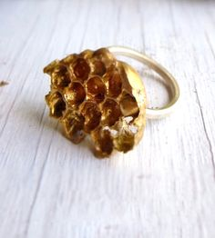 Honeycomb Bronze & Silver Ring | This honeycomb ring is cast in bronze (using the lost wax tech... | Rings