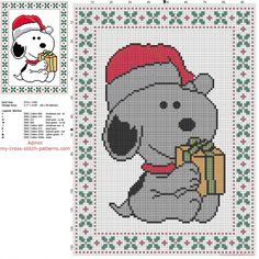 Snoopy Peanuts Père Noël grille point de croix gratuite