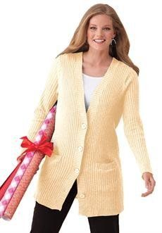 Plus Size Rib Knit V-Neck Cardigan (Ivory,S) BCO. $19.99. Save 60%!