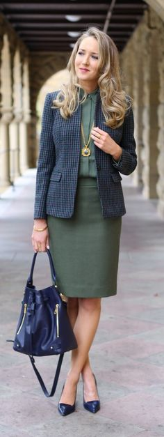 Wear olive to the office! We love a tonal look with a matching blouse and skirt pairing. Add interest with navy, texture and a pop of gold.