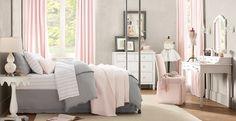 Baby Pink and Grey bedroom. grey bedrooms, restoration hardware, gray bedroom, big girl rooms, little girl rooms, grey room, big girls, pink bedrooms, color scheme
