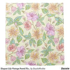 Elegant Lily Vintage Pastel Floral Shower Curtain #bathroomdecor #bathroomideas #bathroom #floraldecor #showercurtain