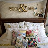 love this bedroom - chicken wire on the walls! you & me (letters from hobby lobby), diy pillows Home Bedroom, Bedroom Decor, Master Bedroom, Bedroom Ideas, Bedroom Inspiration, Bedroom Wall, Wall Decor, Wall Art, Home Decor Ideas