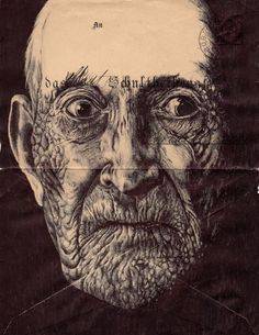 Portraits on envelopes by Mark Powell... pretty cool idea, very good drawings