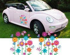 Girly Car Flower Graphics Stickers Vinyl Decals 2 Vinyls Graphics And Flowers
